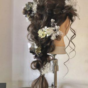 結婚式、二次会に編み下ろしヘアアレンジ